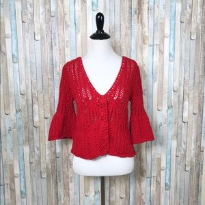 Free People XS Red Crochet Cardigan Bell Sleeve